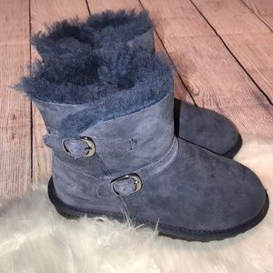 NAVY SUEDE SHERPA FUR WARM SLIP ON BOOTS GIRLS 13